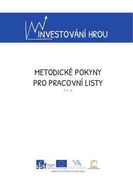 Metodické pokyny pro pracovní listy č. 9–16