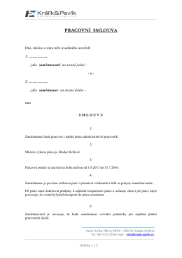 VZOR KE STAŽENÍ - Pracovní smlouva (1.1.2015)