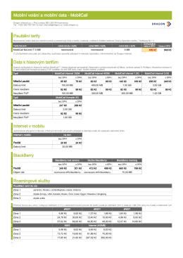 Mobilní volání a mobilní data - MobilCall Paušální tarify Data k