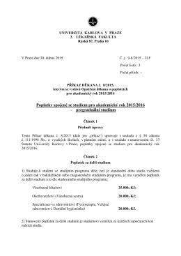 příkaz děkana č. 2015/08 - 3. lékařská fakulta