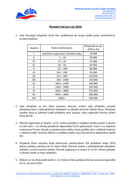Platební řád pro rok 2016 - Českomoravská elektrotechnická asociace
