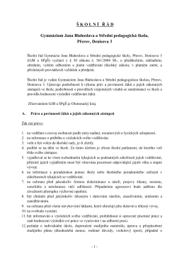 Školní řád - Gymnázium Jana Blahoslava a Střední pedagogická škola