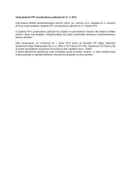 Výdej jízdenek FIP s prodlouženou platností do 31. 3. 2016