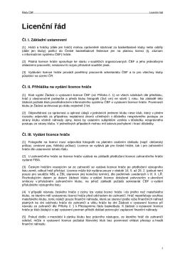 Licenční řád - Česká Basketbalová Federace