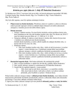 Kritéria pro zápis do ZŠ Dukelská.