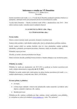 Informace o studiu na VŠ Danubius