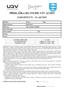 Kompletní informace ke studiu - zimní semestr 2015/2016