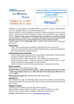 Informace o studiu v Praze