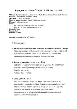 Zápis jednání výboru ČNeoS ČLS JEP dne 6