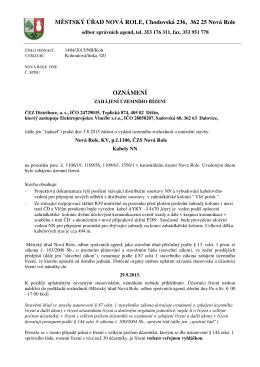 Oznámení o zahájení územního řízení p.č.1106 k.ú. Nová Role