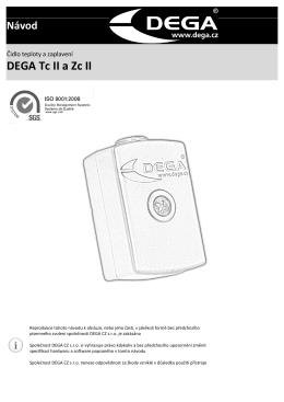 Návod k používání DEGA TcII a ZcII