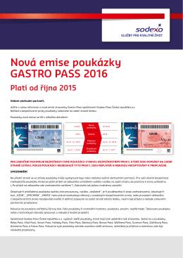 Nová emise poukázky GASTRO PASS 2016 Platí