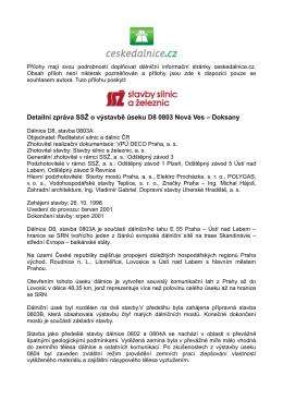detailní zpráva o výstavbě D8, stavbě 0803 Nová Ves – Doksany