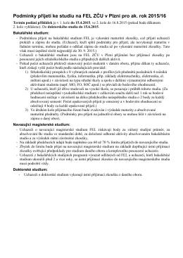 Podmínky přijetí ke studiu na FEL ZČU v Plzni pro ak. rok 2015/16