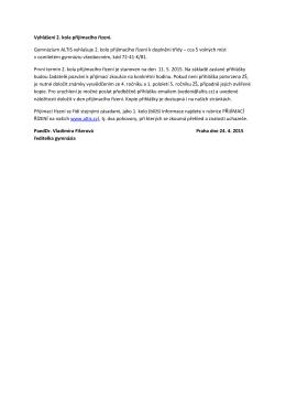 Vyhlášení 2. kola přijímacího řízení. Gymnázium ALTIS vyhlašuje 2