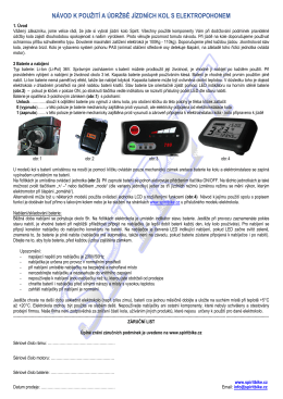 návod k použití a údržbě jízdních kol s elektropohonem