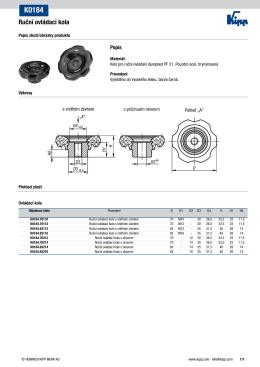 Datový list K0184 Ruční ovládací kola