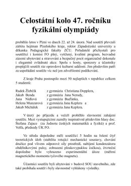 Celostátní kolo 47. ročníku fyzikální olympiády