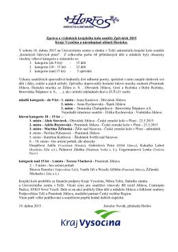 Výsledky krajského kola Zpěváček 18.dubna 2015
