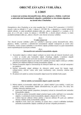 Obecně závazná vyhláška č. 1/2015