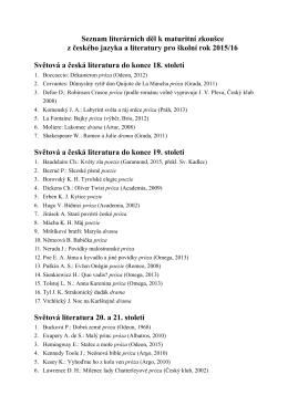 Seznam literárních děl k maturitní zkoušce