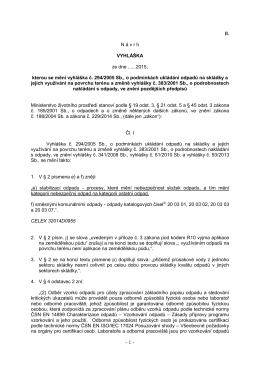 II. N á v r h VYHLÁŠKA ze dne ......2015, kterou se mění vyhláška č
