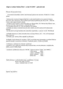 Zápis ze schůze Sokola Žireč ze dne 9.3.2015