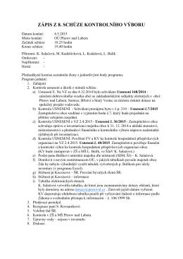 Zápis z porady kontrolního výboru 04.05.2015