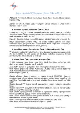 Zápis z jednání Výkonného výboru ČBA 4/2015
