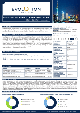 Fact sheet pro EVOLUTION Classic Fund