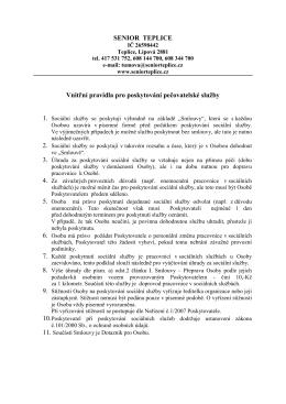 Vnitřní pravidla pro poskytnutí pečovatelské služby