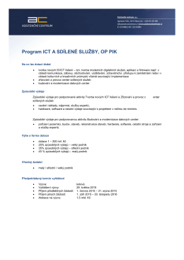 Program ICT A SDÍLENÉ SLUŽBY, OP PIK