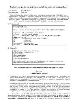 Smlouva o poskytování služeb elektronických