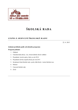 Jednání školské rady 22. 4. 2015