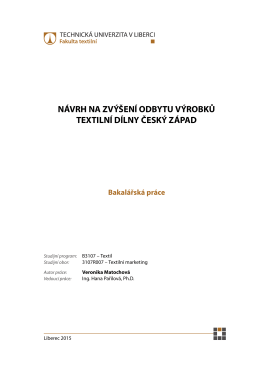 návrh na zvýšení odbytu výrobků textilní dílny český západ