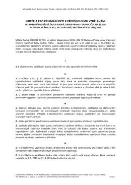 Kritéria  - Mateřská škola Rudná