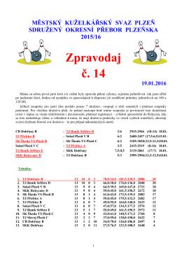 Zpravodaj č. 14 - Kuzelky Slavoj
