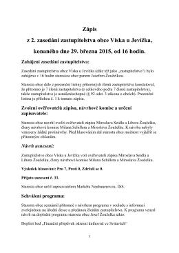 Zápis - Obec Víska u Jevíčka