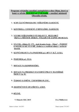 Program veřejného zasedání zastupitelstva obce Okna, které se