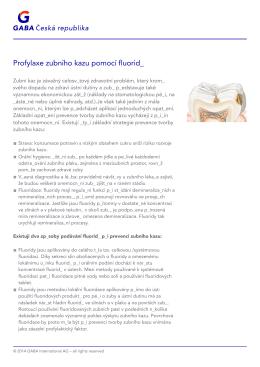 - Profylaxe zubního kazu pomocí fluoridů
