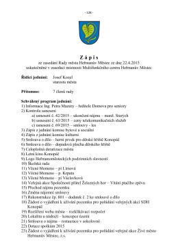 Zápis a usnesení Rady města Heřmanův Městec č. 08/2015