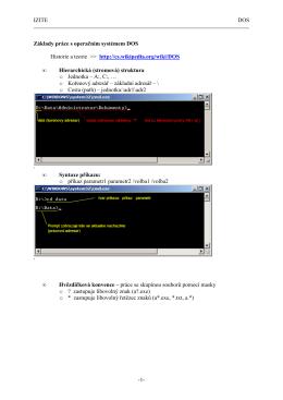 IZITE DOS -1- Základy práce s operačním systémem DOS Historie a