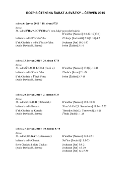 ROZPIS ČTENÍ NA ŠABAT A SVÁTKY – ČERVEN 2015