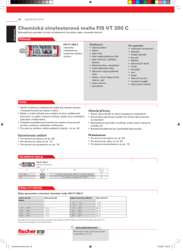Chemická vinylesterová malta FIS VT 380 C - Nerez