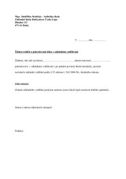 Mgr. Jindřiška Skalická – ředitelka školy Základní škola Dubá,okres