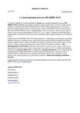 Tisková zpráva č.1 -Tři kříže fest 2015