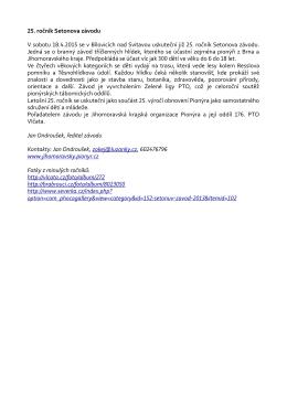 25. ročník Setonova závodu V sobotu 18.4.2015 se v Bílovicích nad