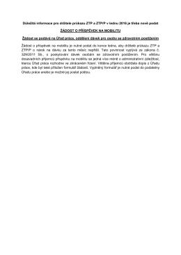 Důležitá informace pro držitele průkazu ZTP a ZTP/P v lednu 2016 je