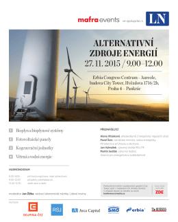 ALTERNATIVNÍ ZDROJE ENERGIÍ 27. 11. 2015 / 9.00–12.00