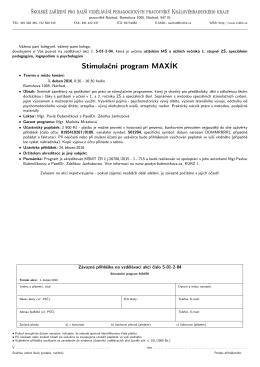 Stimulační program MAXÍK